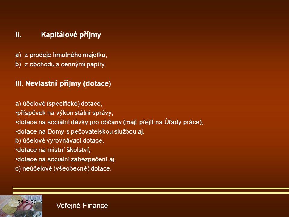 III. Nevlastní příjmy (dotace)
