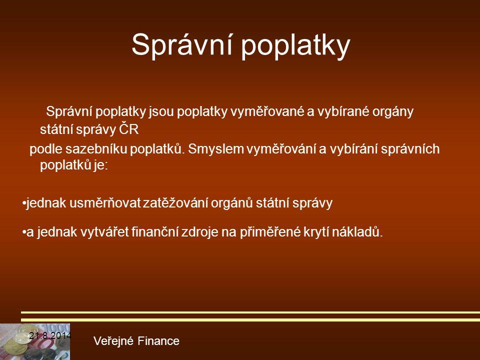 Správní poplatky Správní poplatky jsou poplatky vyměřované a vybírané orgány státní správy ČR.