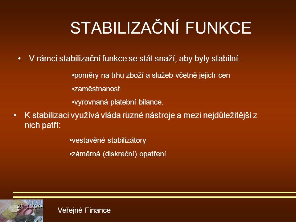 STABILIZAČNÍ FUNKCE V rámci stabilizační funkce se stát snaží, aby byly stabilní: poměry na trhu zboží a služeb včetně jejich cen.