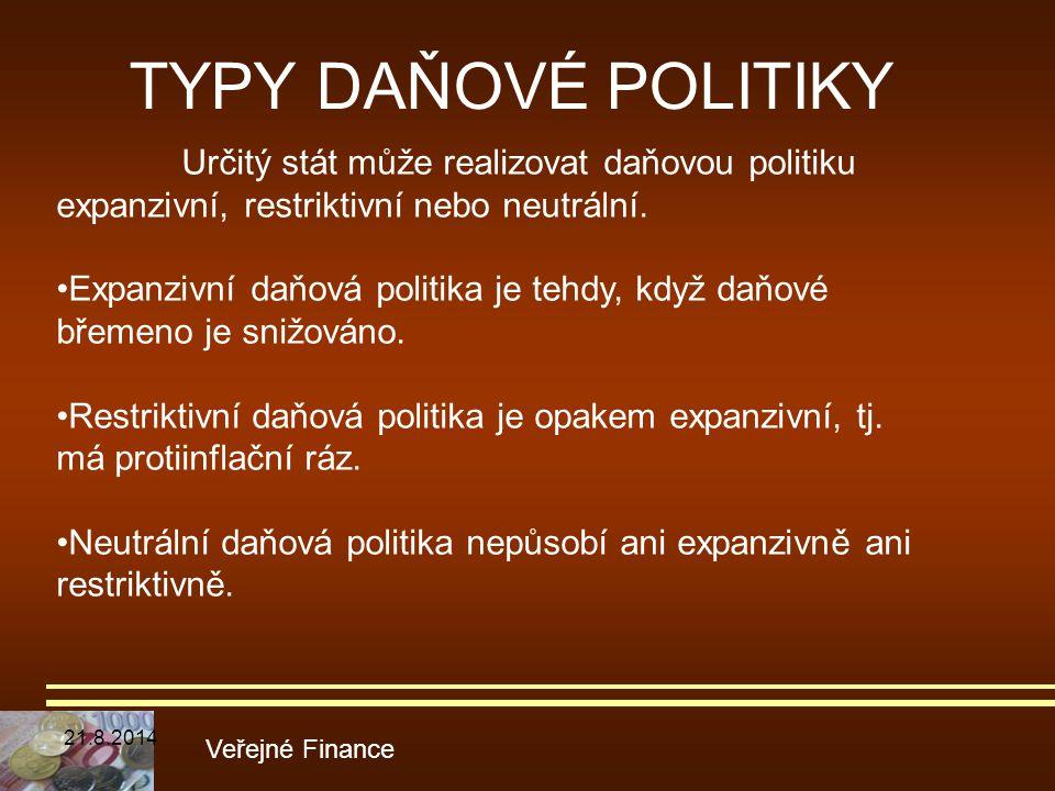 TYPY DAŇOVÉ POLITIKY Určitý stát může realizovat daňovou politiku expanzivní, restriktivní nebo neutrální.
