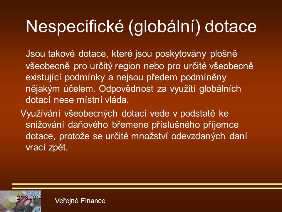 Nespecifické (globální) dotace