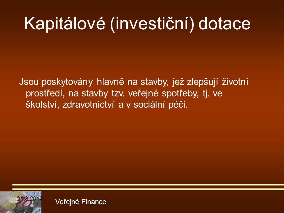 Kapitálové (investiční) dotace