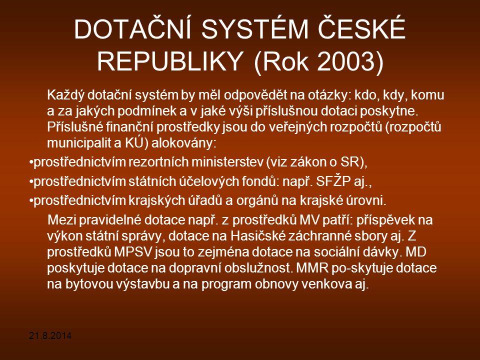 DOTAČNÍ SYSTÉM ČESKÉ REPUBLIKY (Rok 2003)
