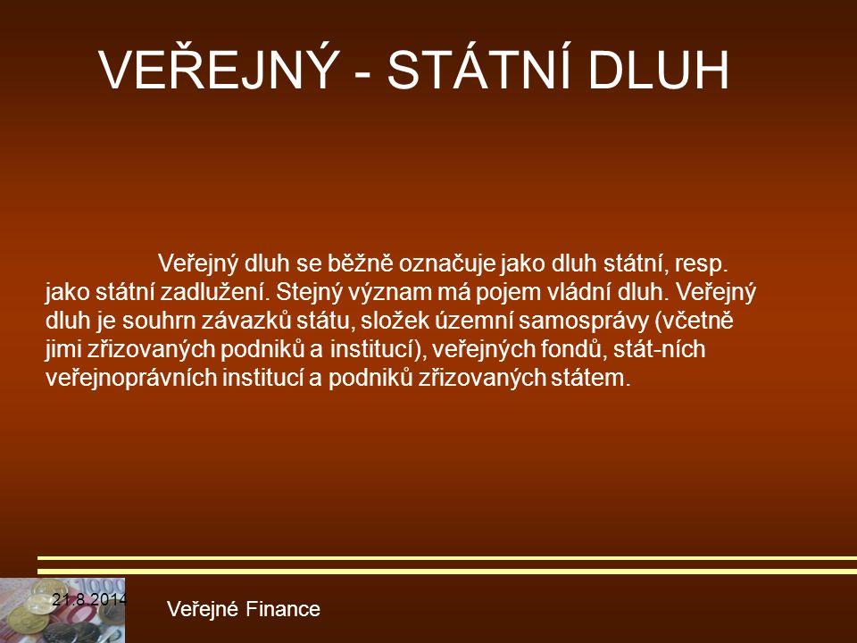 VEŘEJNÝ - STÁTNÍ DLUH Veřejné Finance