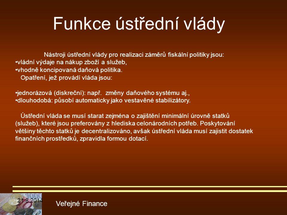 Funkce ústřední vlády Veřejné Finance