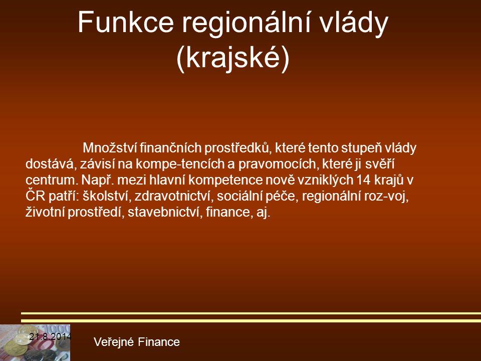 Funkce regionální vlády (krajské)
