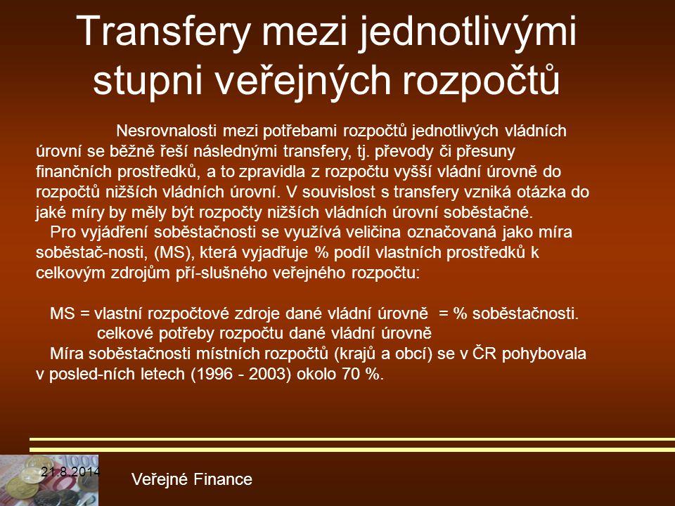 Transfery mezi jednotlivými stupni veřejných rozpočtů