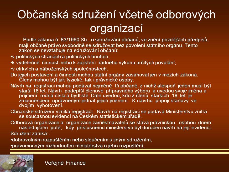 Občanská sdružení včetně odborových organizací