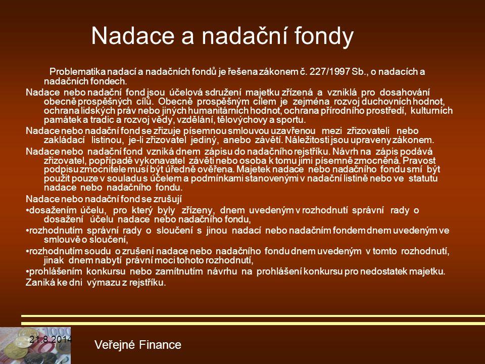 Nadace a nadační fondy Problematika nadací a nadačních fondů je řešena zákonem č. 227/1997 Sb., o nadacích a nadačních fondech.