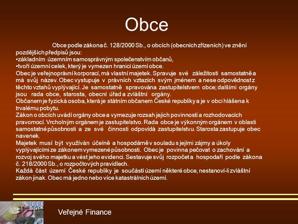 Obce Obce podle zákona č. 128/2000 Sb., o obcích (obecních zřízeních) ve znění pozdějších předpisů jsou: