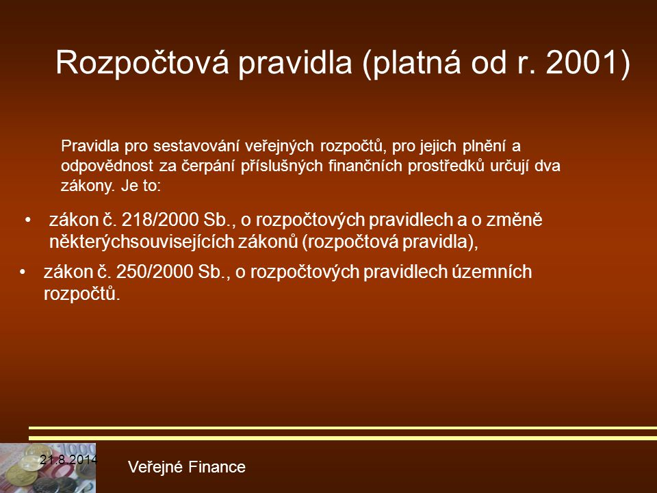 Rozpočtová pravidla (platná od r. 2001)