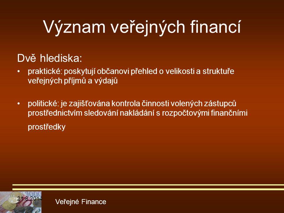 Význam veřejných financí
