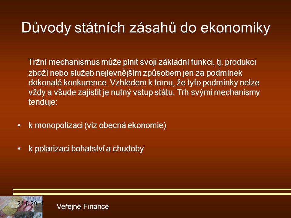 Důvody státních zásahů do ekonomiky