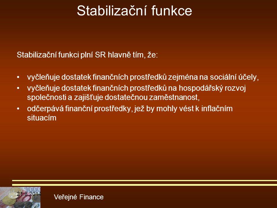 Stabilizační funkce Stabilizační funkci plní SR hlavně tím, že: