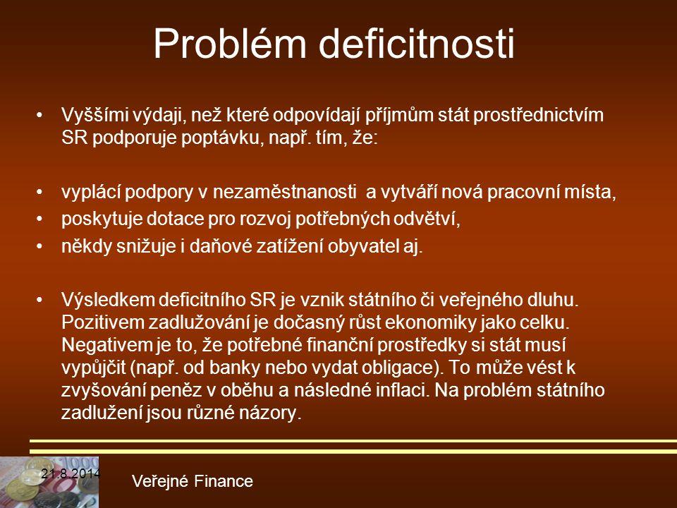Problém deficitnosti Vyššími výdaji, než které odpovídají příjmům stát prostřednictvím SR podporuje poptávku, např. tím, že: