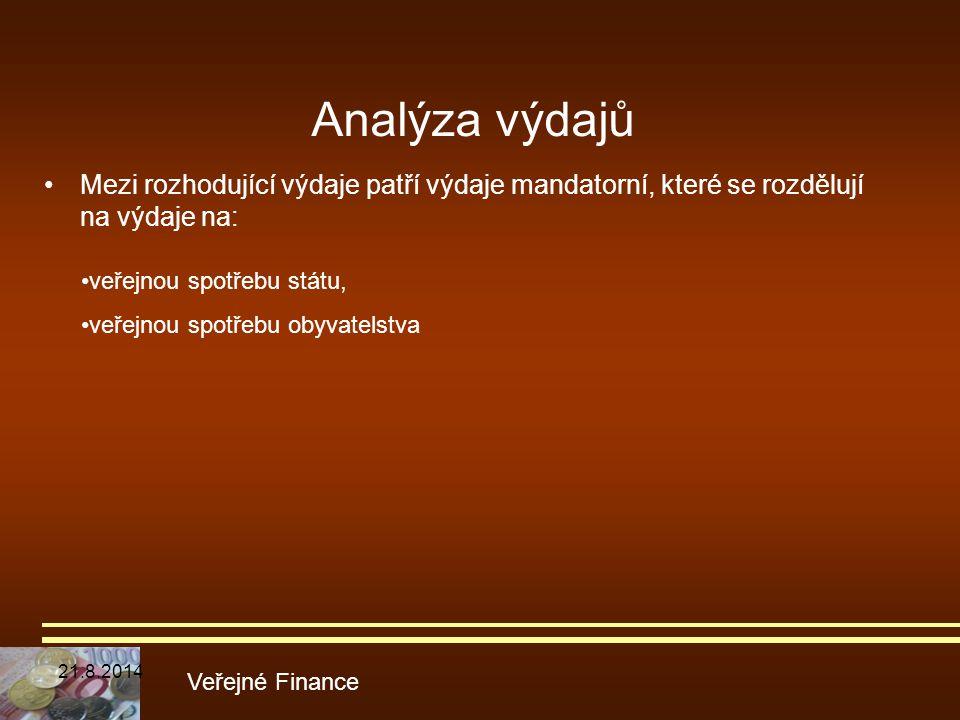 Analýza výdajů Mezi rozhodující výdaje patří výdaje mandatorní, které se rozdělují na výdaje na: veřejnou spotřebu státu,