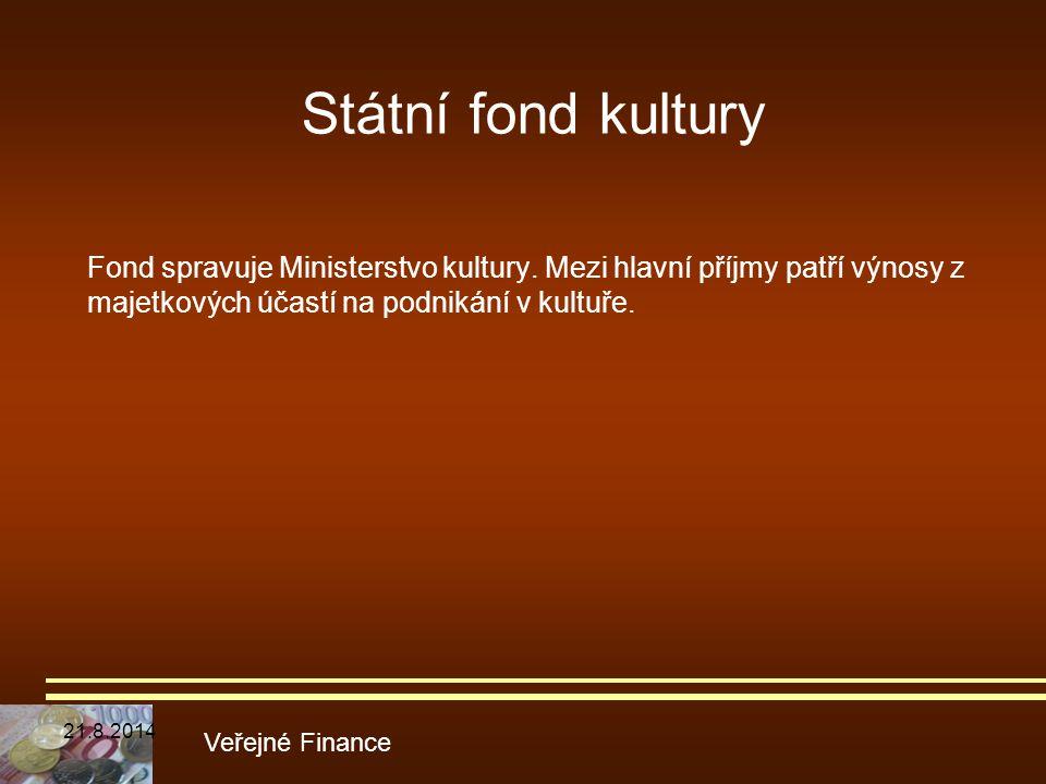 Státní fond kultury Fond spravuje Ministerstvo kultury. Mezi hlavní příjmy patří výnosy z majetkových účastí na podnikání v kultuře.