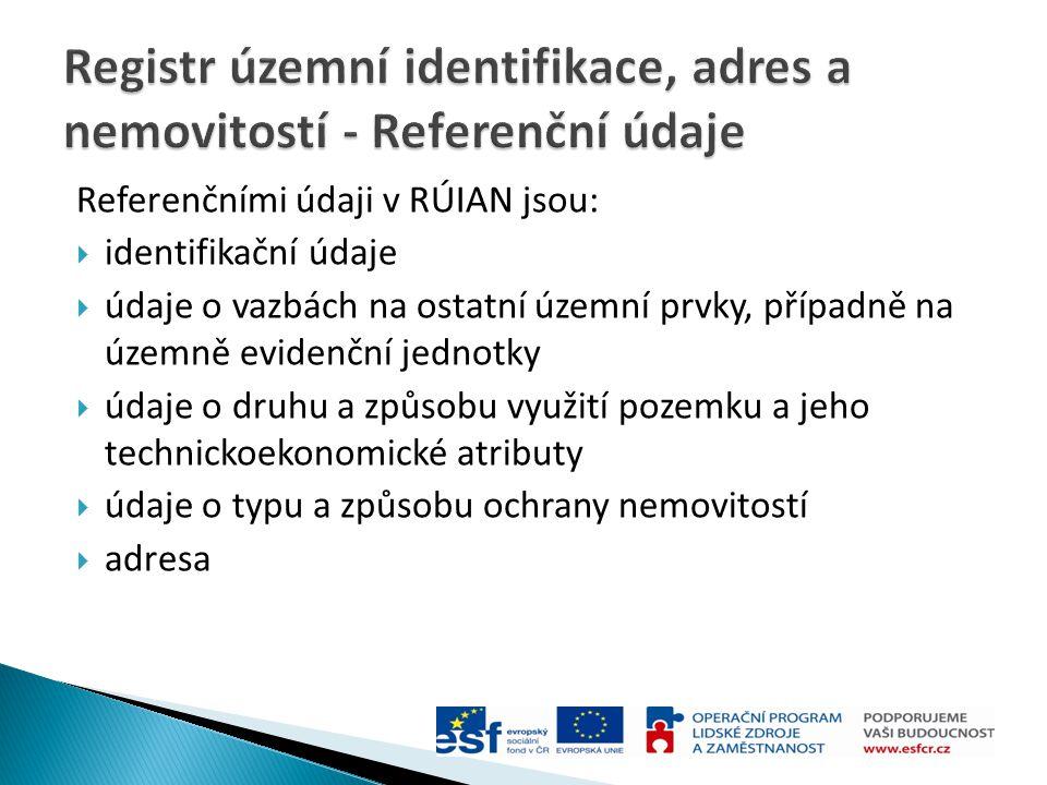 Registr územní identifikace, adres a nemovitostí - Referenční údaje
