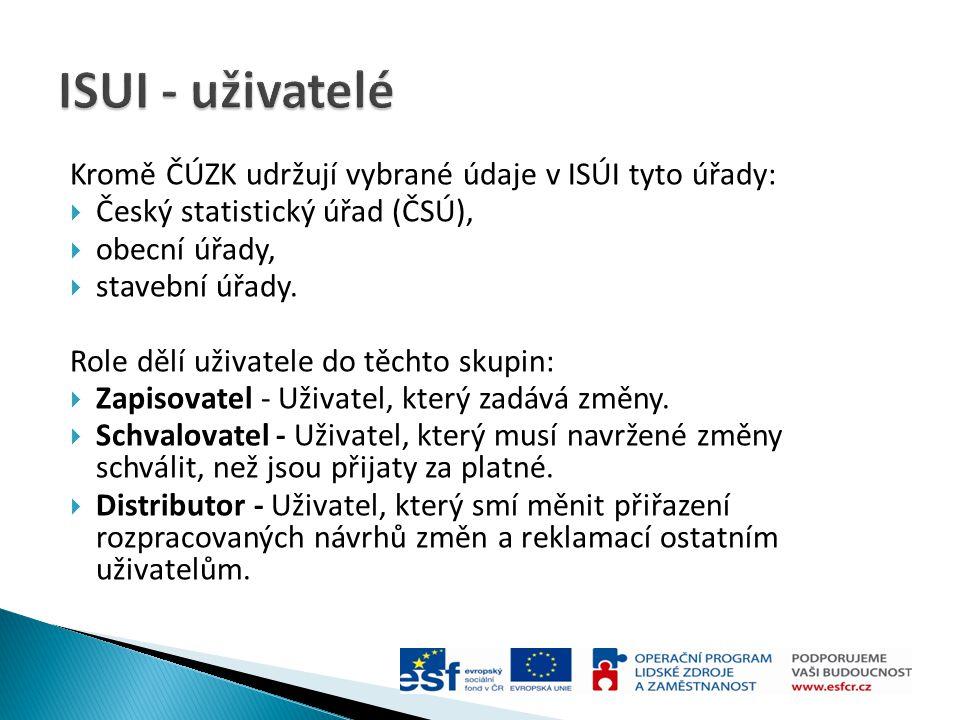 ISUI - uživatelé Kromě ČÚZK udržují vybrané údaje v ISÚI tyto úřady: