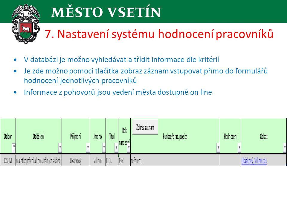 7. Nastavení systému hodnocení pracovníků