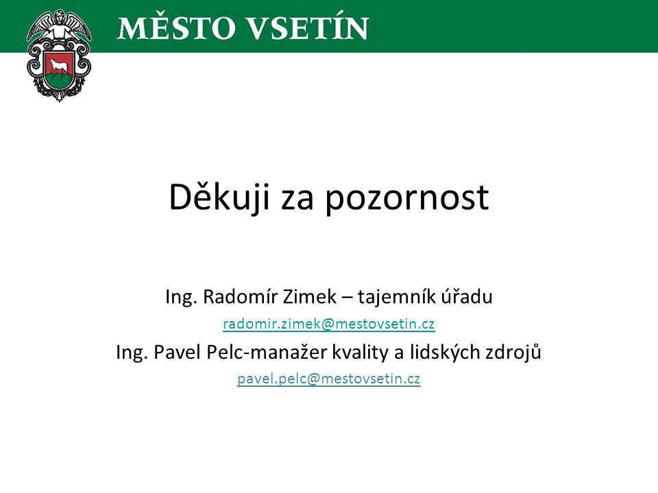 Děkuji za pozornost Ing. Radomír Zimek – tajemník úřadu