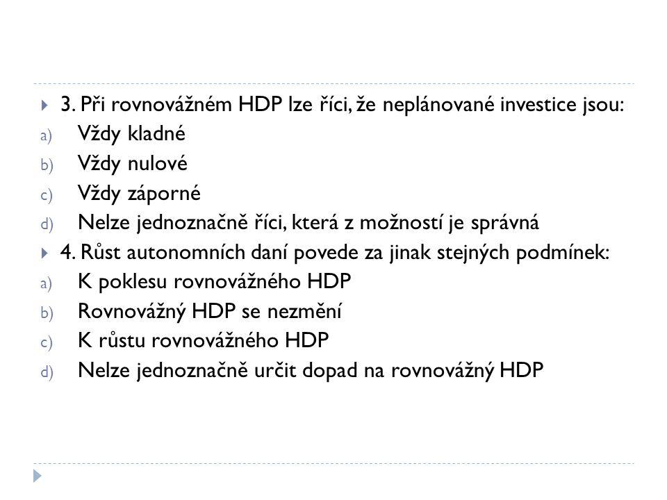 3. Při rovnovážném HDP lze říci, že neplánované investice jsou: