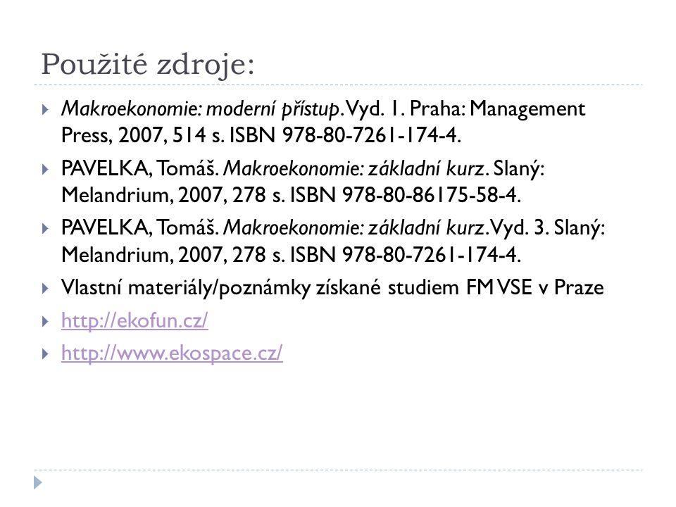Použité zdroje: Makroekonomie: moderní přístup. Vyd. 1. Praha: Management Press, 2007, 514 s. ISBN 978-80-7261-174-4.