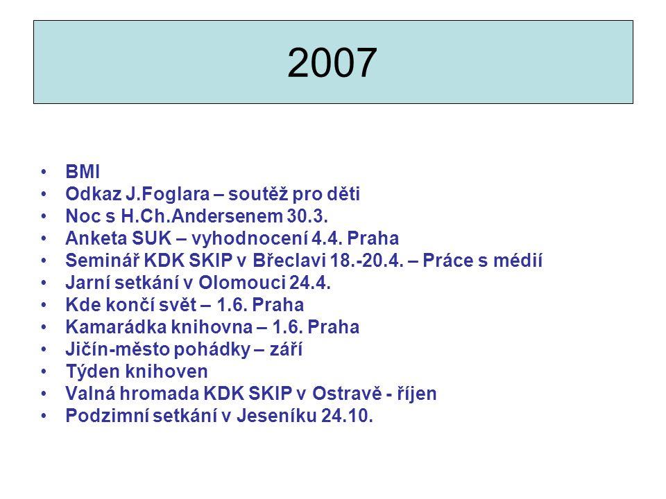 2007 BMI Odkaz J.Foglara – soutěž pro děti Noc s H.Ch.Andersenem 30.3.
