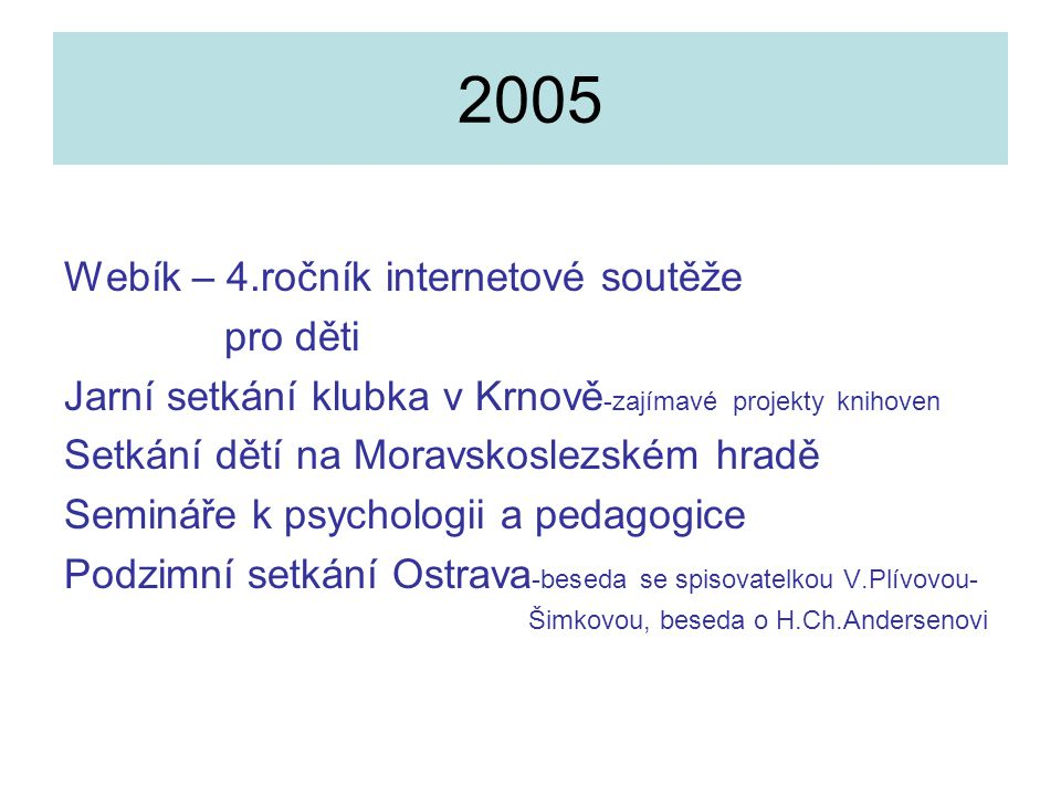 2005 Webík – 4.ročník internetové soutěže pro děti