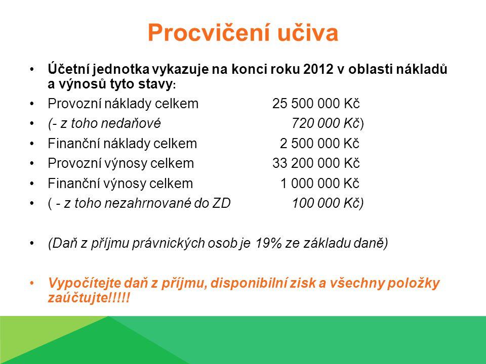 Procvičení učiva Účetní jednotka vykazuje na konci roku 2012 v oblasti nákladů a výnosů tyto stavy: