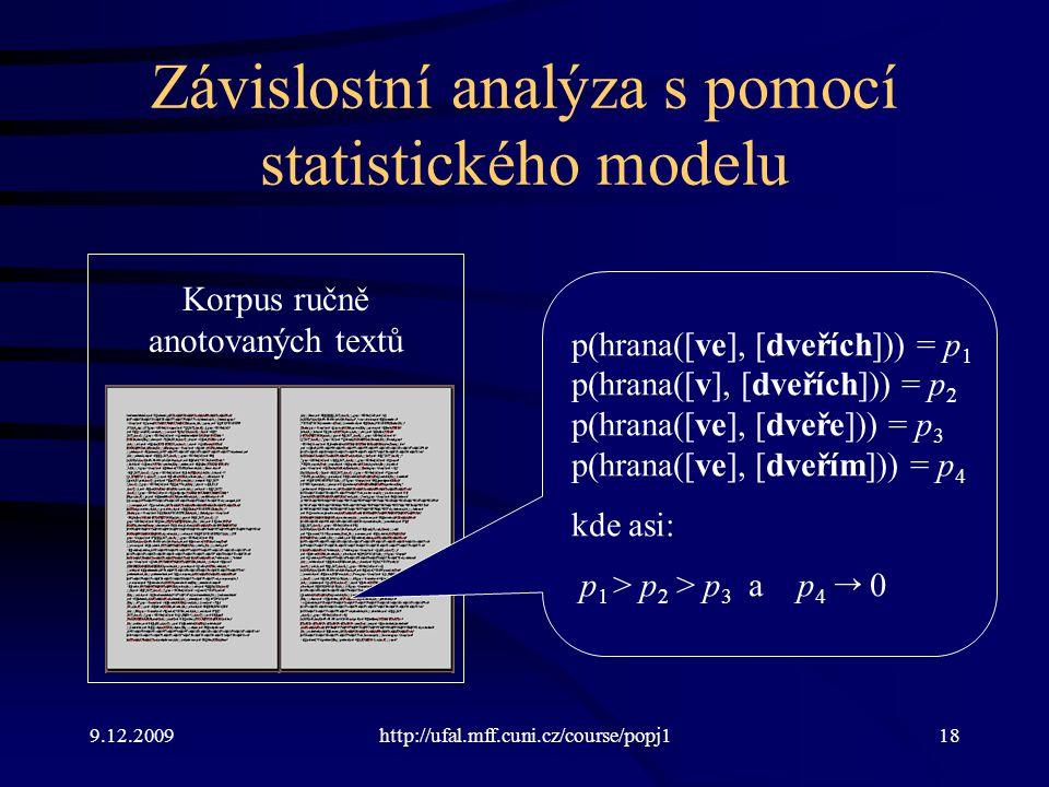 Závislostní analýza s pomocí statistického modelu