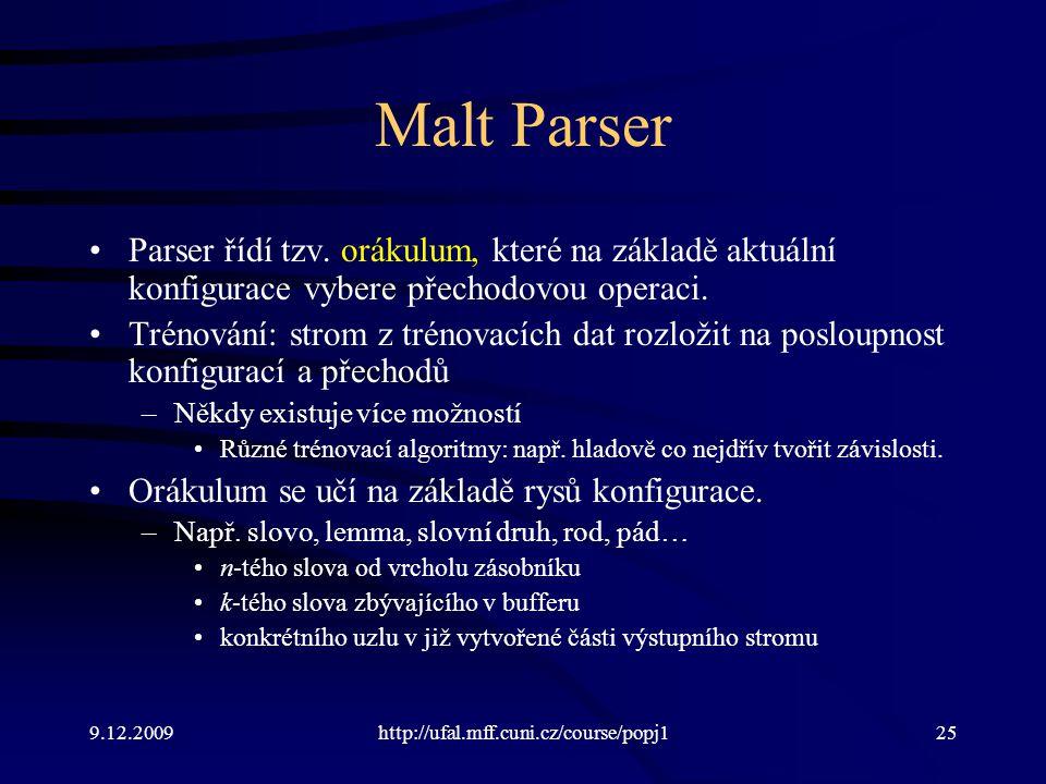Malt Parser Parser řídí tzv. orákulum, které na základě aktuální konfigurace vybere přechodovou operaci.