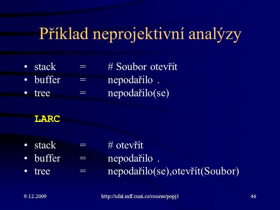 Příklad neprojektivní analýzy