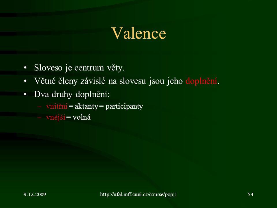 Valence Sloveso je centrum věty.