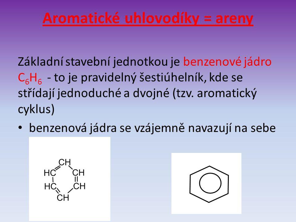 Aromatické uhlovodíky = areny