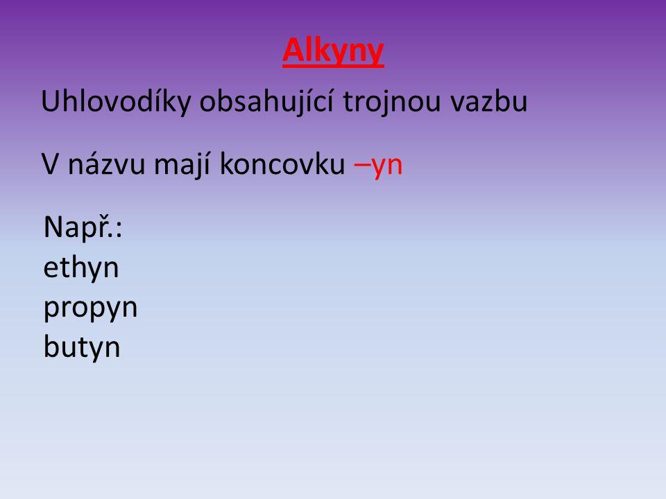 Alkyny Uhlovodíky obsahující trojnou vazbu V názvu mají koncovku –yn