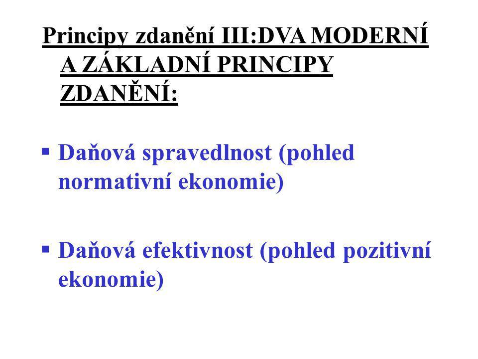 Principy zdanění III:DVA MODERNÍ A ZÁKLADNÍ PRINCIPY ZDANĚNÍ: