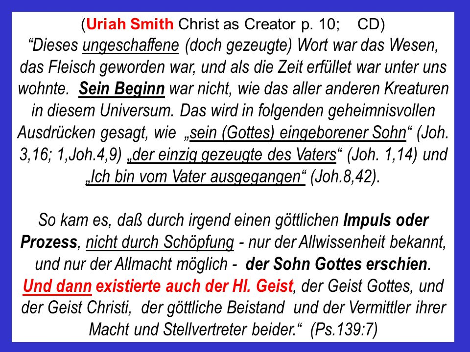 (Uriah Smith Christ as Creator p. 10; CD)