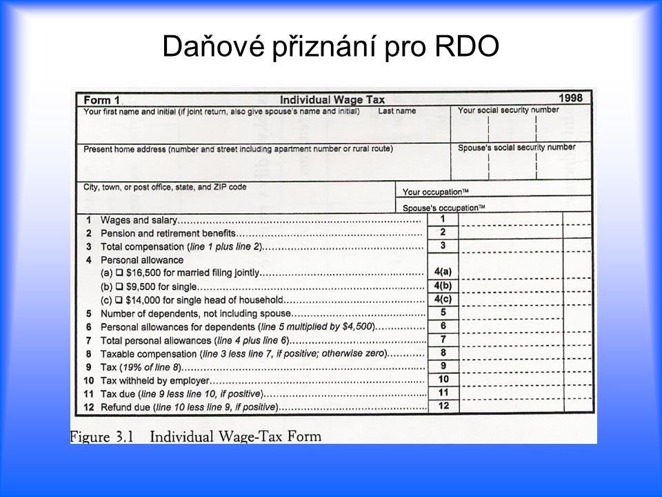 Daňové přiznání pro RDO