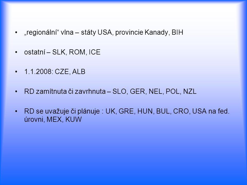 """""""regionální vlna – státy USA, provincie Kanady, BIH"""