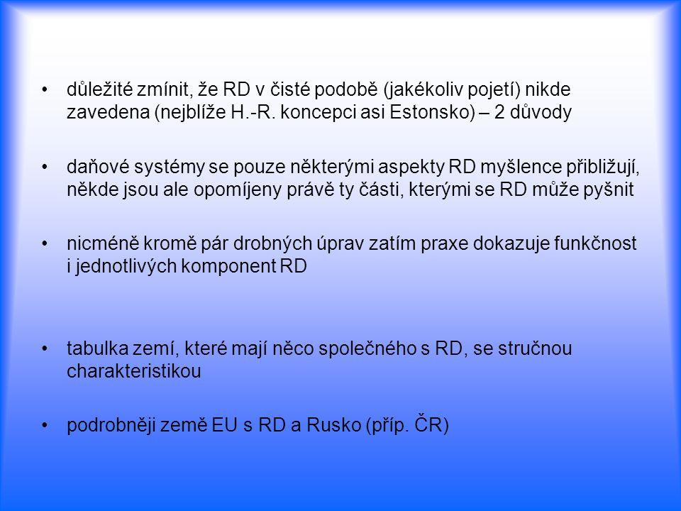 důležité zmínit, že RD v čisté podobě (jakékoliv pojetí) nikde zavedena (nejblíže H.-R. koncepci asi Estonsko) – 2 důvody