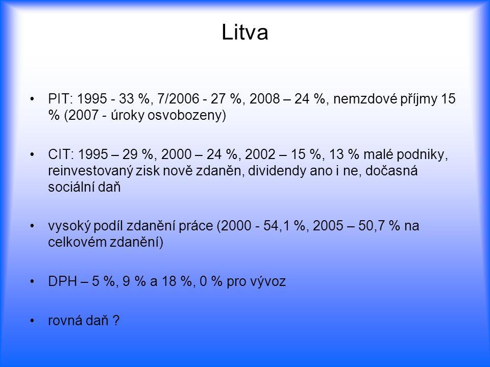 Litva PIT: 1995 - 33 %, 7/2006 - 27 %, 2008 – 24 %, nemzdové příjmy 15 % (2007 - úroky osvobozeny)