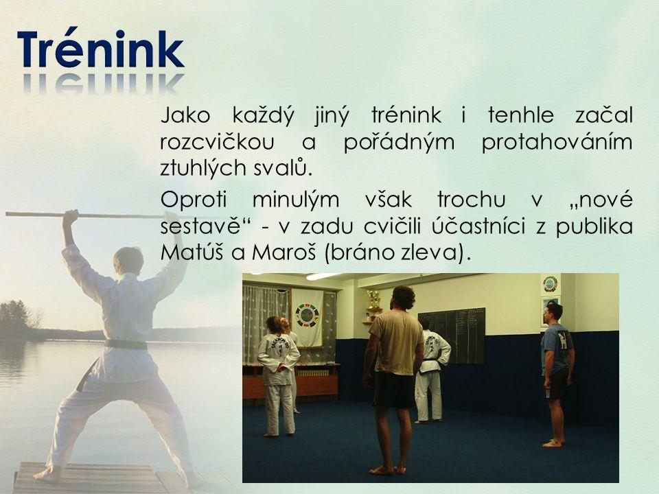 Trénink Jako každý jiný trénink i tenhle začal rozcvičkou a pořádným protahováním ztuhlých svalů.