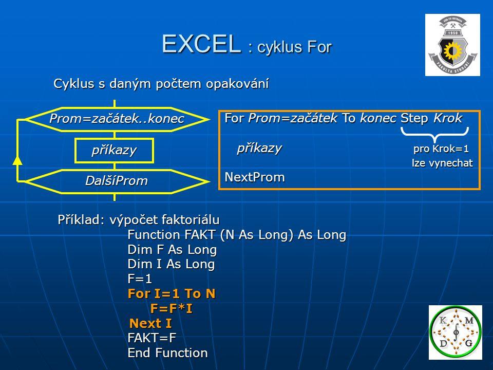 EXCEL : cyklus For Cyklus s daným počtem opakování Prom=začátek..konec