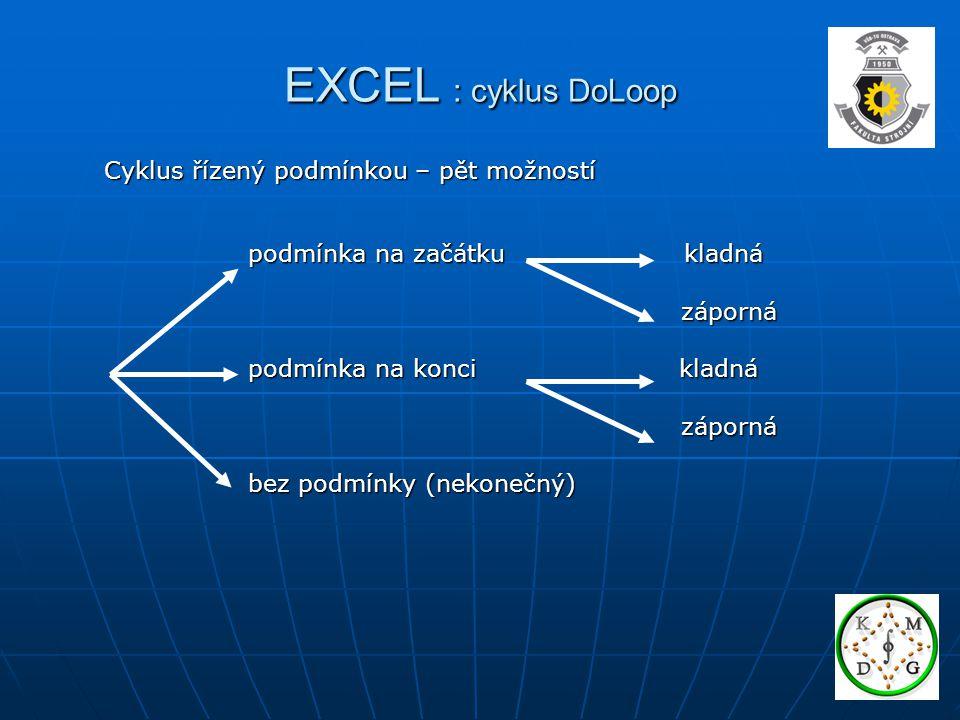 EXCEL : cyklus DoLoop Cyklus řízený podmínkou – pět možností