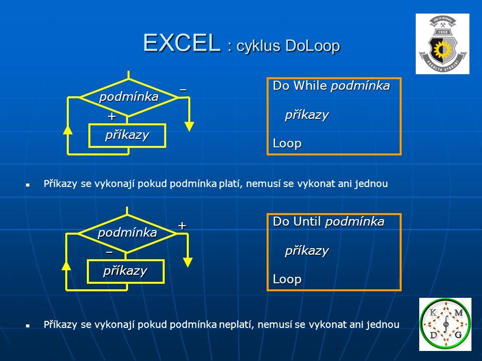 EXCEL : cyklus DoLoop Do While podmínka – podmínka příkazy Loop +