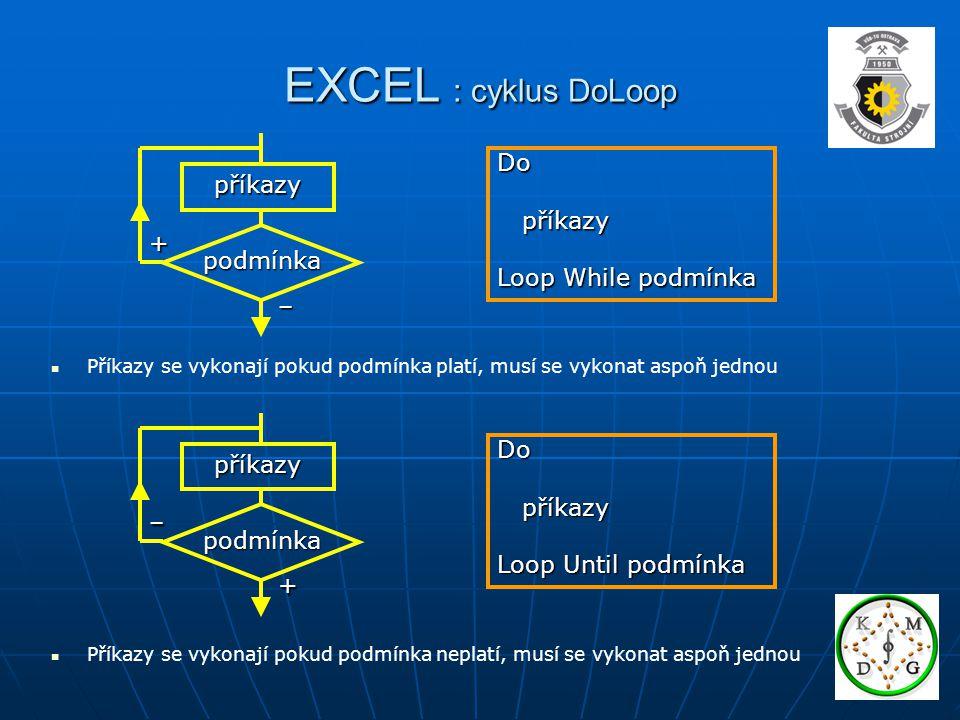 EXCEL : cyklus DoLoop Do příkazy příkazy Loop While podmínka +