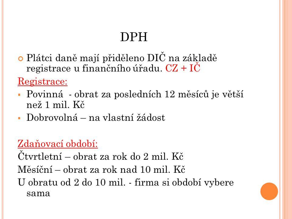 DPH Plátci daně mají přiděleno DIČ na základě registrace u finančního úřadu. CZ + IČ. Registrace:
