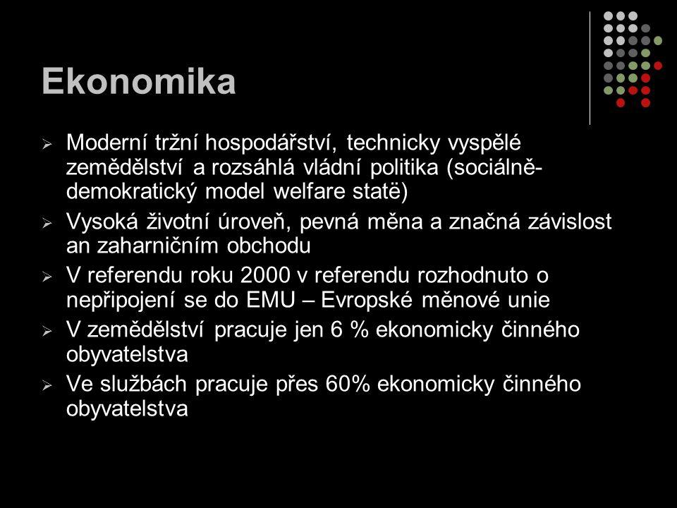 Ekonomika Moderní tržní hospodářství, technicky vyspělé zemědělství a rozsáhlá vládní politika (sociálně-demokratický model welfare statë)