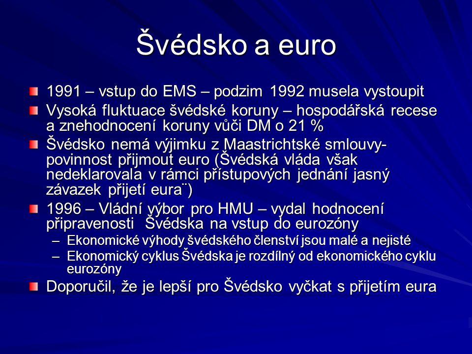Švédsko a euro 1991 – vstup do EMS – podzim 1992 musela vystoupit